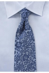 Krawatte Blumenmuster royalblau Seide / Leinen