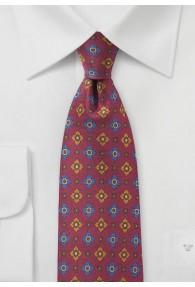Krawatte britisches Blümchenmotiv weinrot