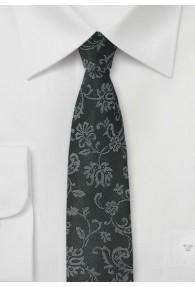 Blumenmuster-Krawatte tintenschwarz