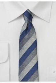 Businesskrawatte Streifen blau perlweiß hellgrau
