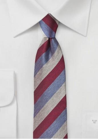 Krawatte Linien silbergrau rot hellblau