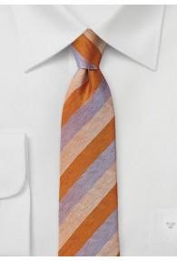 Kravatte Streifen orange flieder perlweiß