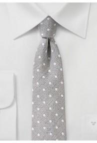 Krawatte mit Leinen getupft silber