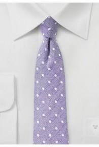 Herrenkrawatte mit Leinen tupfengemustert violett