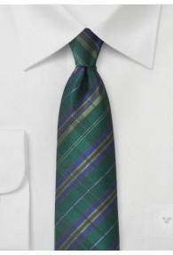 Krawatte Streifenkaro flaschengrün royalblau