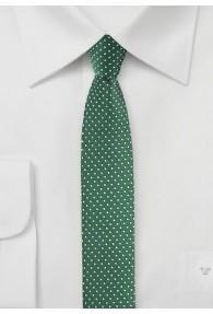 Krawatte schmal geformt  flaschengrün gepunktet