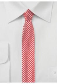 Krawatte schlank  himbeerrot punktgemustert