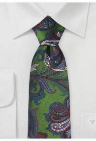 Krawatte Paisleymotiv braungrün