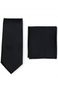 Krawatte und Kavaliertuch im Set - schwarz