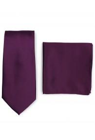 Krawatte und Ziertuch im Set - aubergine