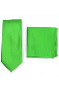 Krawatte und Kavaliertuch im Set - giftgrün