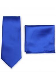 Businesskrawatte und Ziertuch im Set - royalblau