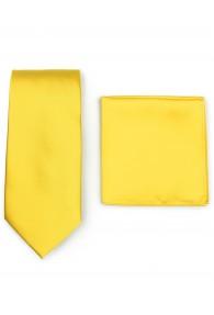 Herrenkrawatte und Ziertuch im Set - gelb