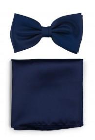 Herrenschleife und Einstecktuch in dunkelblau