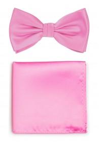 Herren-Schleife und Einstecktuch in pink