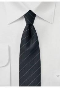Krawatte Nadelstreifen tintenschwarz silber