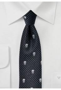 Krawatte Totenkopf schwarz Glitzer
