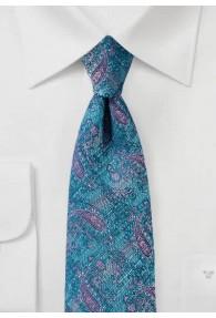 Krawatte marmoriert Paisley türkisblau