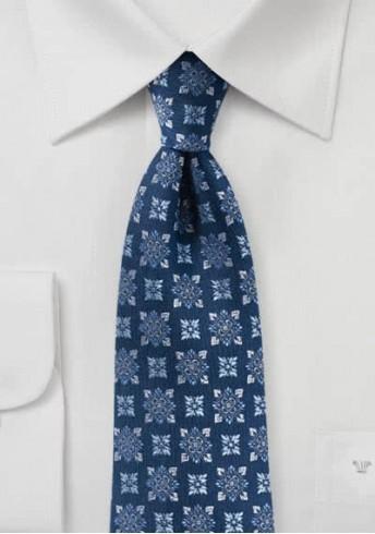 Herrenkrawatte Blumen-Ornamente navyblau