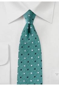 Krawatte Pünktchen Denim-Optik tannengrün