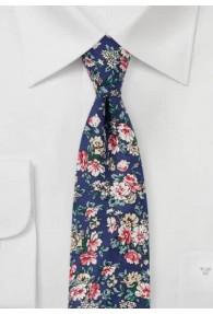 Herrenkrawatte Blumenmuster Baumwolle nachtblau