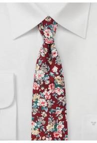 Kravatte Blumenmotiv Baumwolle bordeaux