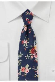 Krawatte Rosen-Dessin navyblau