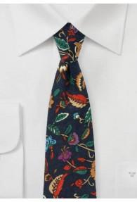 Krawatte blumiges Dessin nachtblau