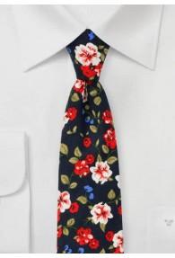 Krawatte Baumwolle Blumenmuster nachtblau