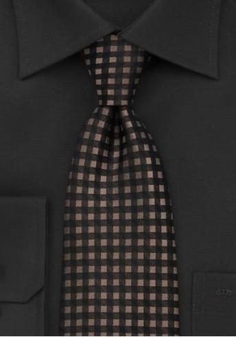 Krawatte Karos Braun Schwarz