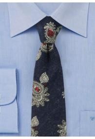 Paisley-Muster-Krawatte Baumwolle dunkelblau