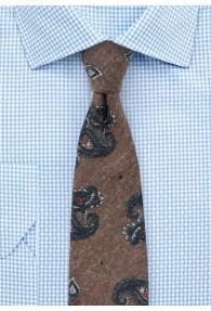 Paisley-Motiv-Krawatte Baumwolle capuccinofarben