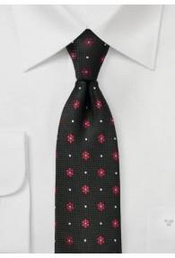 Krawatte strukturiert Blümchen tiefschwarz
