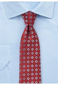 Krawatte Rauten-Ornamente kirschrot