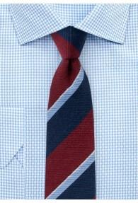 Krawatte breite Streifen navyblau weinrot