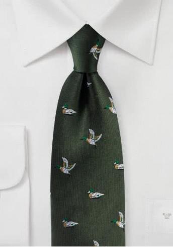 Krawatte Stockenten-Dessin tannengrün